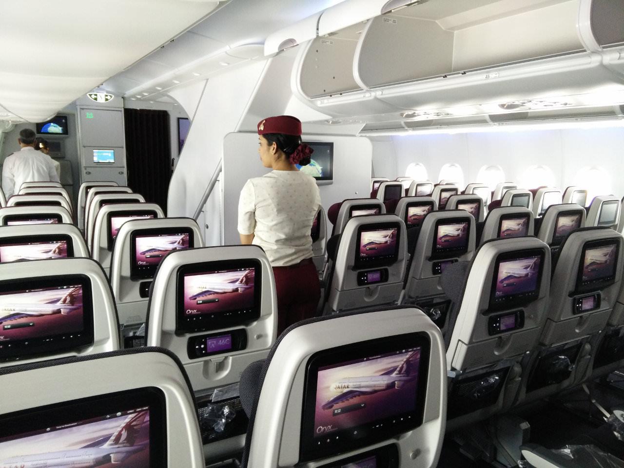 Vol sur l 39 a380 fait au japon for Interieur qatar airways